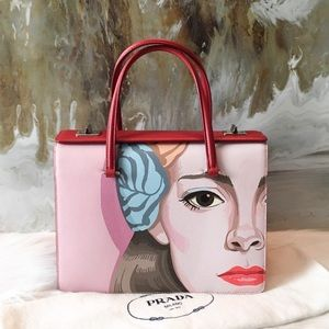 RARE! Prada Saffiano Leather Girl Print Face Bag